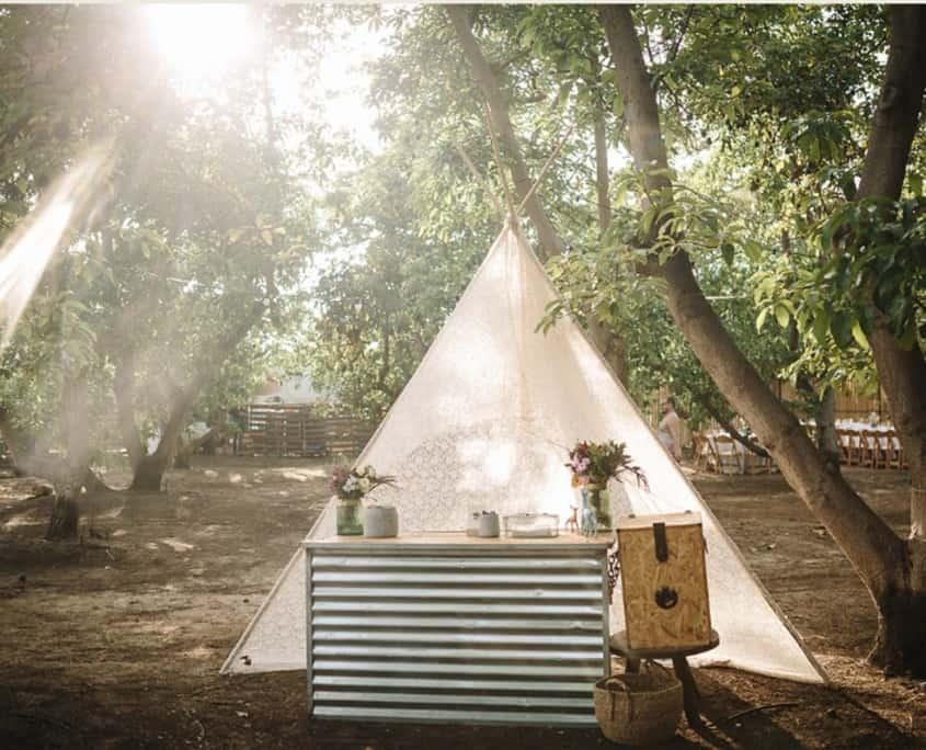 עמדת כניסה בחתונה בטבע